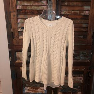 CAbi 3157 Crew Neck Cream Open Back Sweater
